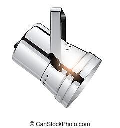 Chrome spotlight, realistic vector illustration.