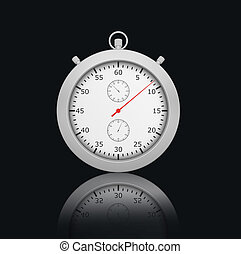 Chrome Stopwatch on black background with reflection