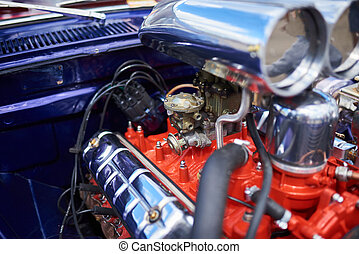 Chrome supercharger and engine, on an old car