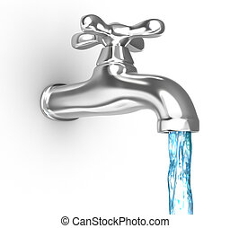 Chrome tap with a water stream. Isolated on white