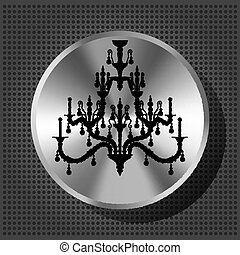 Chrome volume knob with silhouette of luxury chandelier on ...