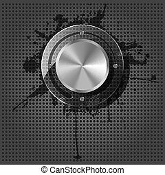 Chrome volume knob with splash on the metallic background
