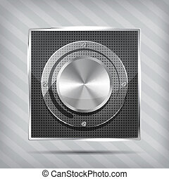 Chrome volume knob with transparency plate on the striped ...