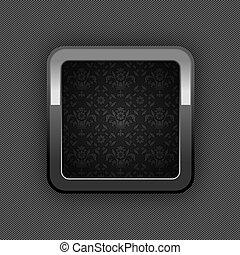 Chrome web button, button floral ornaments
