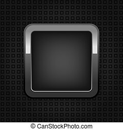 Chrome web button, plastic texture, empty button