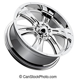 Chrome Wheel - A vector illustration of a chrome mag wheel