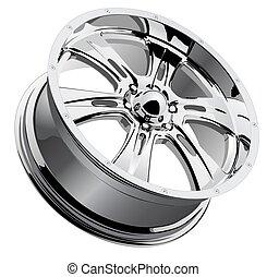 Chrome Wheel - A vector illustration of a chrome mag wheel