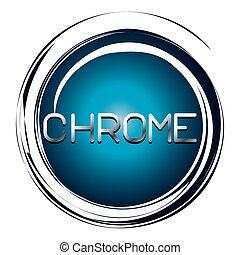 chrome word on blue button
