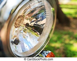chromed, classique, motocyclette, élégant, phare, chrome-plaqué, motocyclette, headlight.