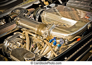 chromed vehicle engine with enhanced golden tones