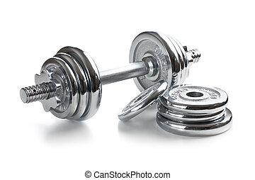 Chromed fitness dumbbell on white background