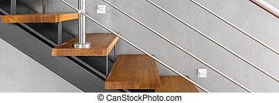 chromed, lépcsőház, védőkorlát