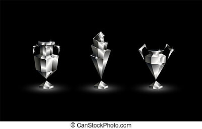 Chromed Low Poly Soccer Cups Set. Abstract Polygonal 3D...