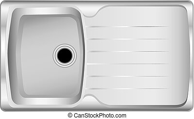 Chromed modern kitchen sink with central drainage...