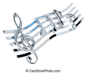 Chromed treble clef and the stave with one-eighth notes, ...
