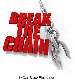 chromel, cassé, concept, chaîne, liberté