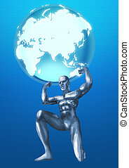 Chromeman Atlas - A chrome man lifting up the Globes