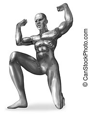 Chromeman Atlas - Illustration of a chrome man in atlas pose...