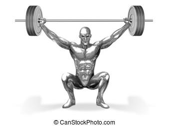 CHROMEMAN_Weight Lifting - An illustration of chrome man...