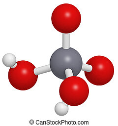 Chromic acid (H2CrO4) molecule, chemical structure. Chromic...