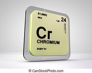 Chromium - Cr - chemical element periodic table 3d render