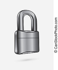 chromium padlock over white background vector illustration