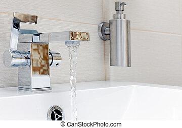 chromium-plate, kran, water.