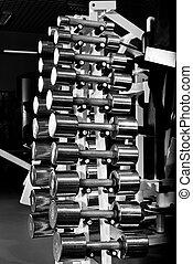 chromium-plated dumbbells - many steel chromium-plated...