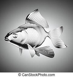 chromium-plated goldfish over grey gradient backgorund