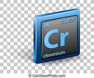 Chromiumchemical element. Chemical symbol with atomic number and atomic mass.