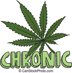 Doodle style chronic marijuana leaf sketch in vector format. Includes text and pot plant.