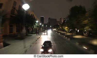 chronocinématographie, coup, touriste, autobus ville, mexique