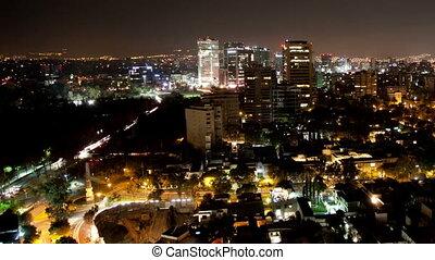 chronocinématographie, horizon, nuit, ville, mexique