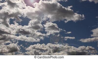 chronocinématographie, nuages, sur, profond, ciel bleu, -,...