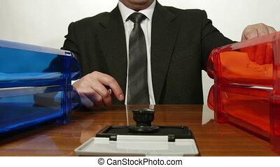 chronocinématographie, signer, documents, entrant, personne affaires