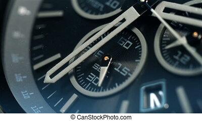 Chronograph Watch Second Arrow Unwinds Ago. Extreme Close Up...