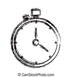 chronomètre, épais, contour, minuteur, brouillé