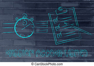chronomètre, accompli, complet, liste, mission