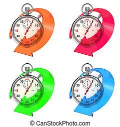 chronomètre, arrow., ensemble, coloré, white.
