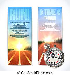 chronomètre, bannières, vertical