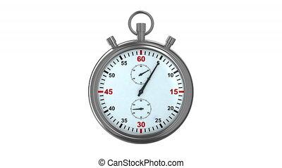chronomètre, blanc, arrière-plan., 3d, render