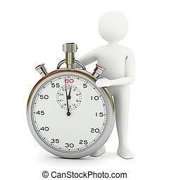 chronomètre, blanc, homme