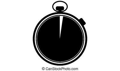 chronomètre, blanc, transition, noir
