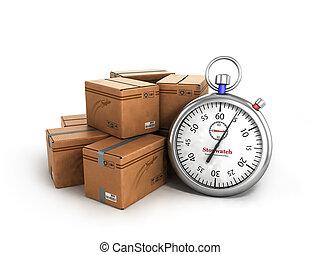 chronomètre, côté, les, boîtes, les, concept, de, livraison rapide