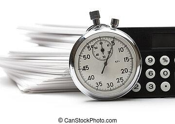 chronomètre, calculatrice, papier, tas, cartes