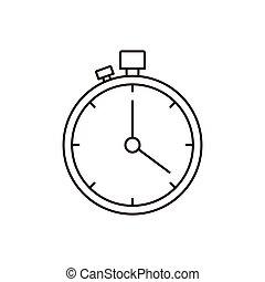 chronomètre, croquis, silhouette, minuteur