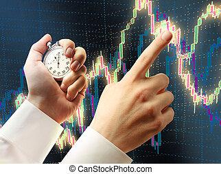chronomètre, diagramme, bougeoir, main
