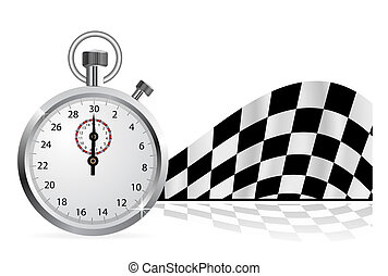 chronomètre, drapeau, checkered