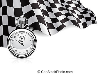 chronomètre, drapeau, checkered, fond