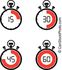 chronomètre, ensemble, minuteur